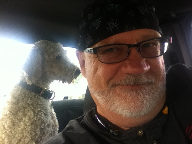 Panzer and Dad. Ride in the pickup.